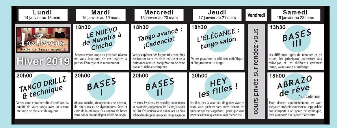 Horaire tango Las Piernas hiver 2019